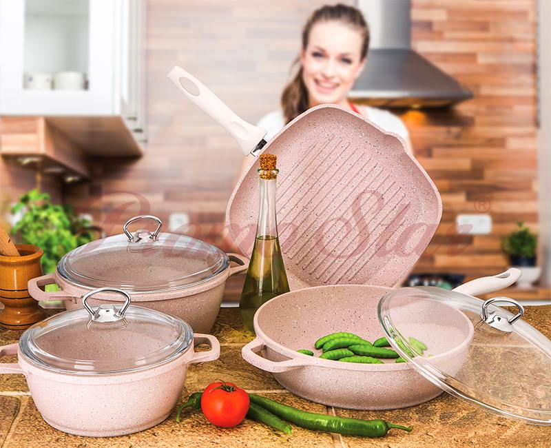 Granite Cast Cooking Pot Set – 7 Pieces