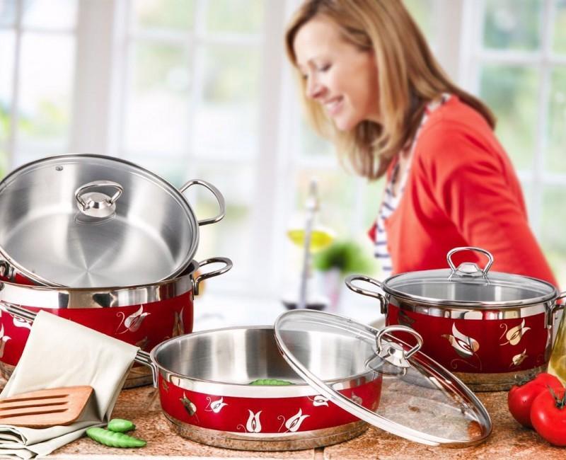Red Amos Cooking Pot Set – 9 Pieces