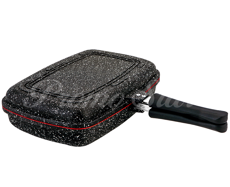 Black Granite Cast Frying Pan with Double Caps
